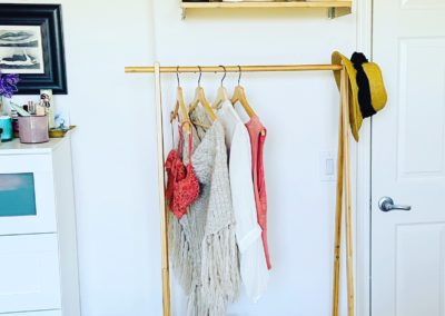 Blog post picture of bamboo clothing rack